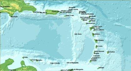 Mapa karibských ostrovov s doplneným reliéfom.