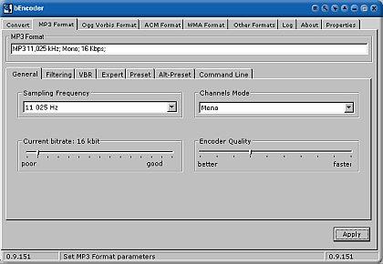 Nastavovanie parametrov výsledného MP3 súboru v programe bEncoder