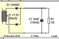 Schéma analyzovaného zapojenia, žlto zvýraznená časť transformátora a usmerňovača