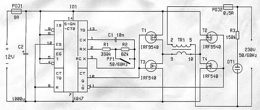 Schéma zapojenia meniča 12V DC na 230V AC