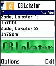 Hlavná obrazovka CB Lokatoru