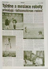 Článok v prílohe TATRY denníka Korzár o rádioamatéroch