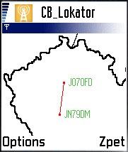 Mapka spojenia v CB Lokátore