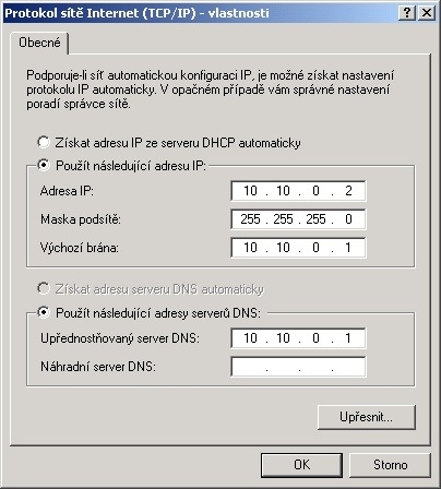 Konfigurácia TCP/IP na podriadenom PC