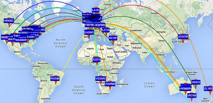 Mapa WSPR spojení