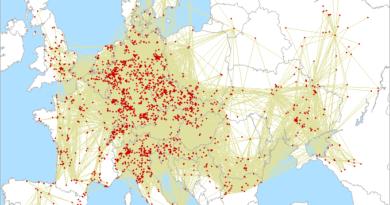 Mapa spojení IARU Region 1 UHF/MW contest 2020 na 432 MHz