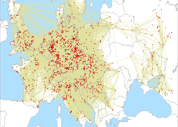 Mapa spojení A1 contest 2020