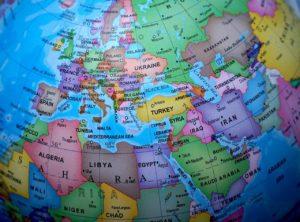 Mapa Európy, Afriky a Ázie