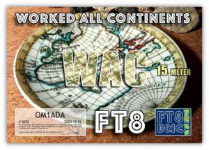Diplom WAC 15m FT8 OM1ADA